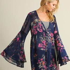 BOHO Umgee Floral Bell Sleeve Cardigan Kimono